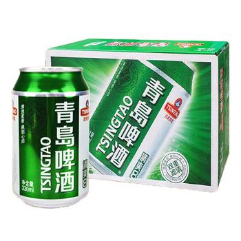青岛听装啤酒11°纯厚330ml*24听/箱 2204